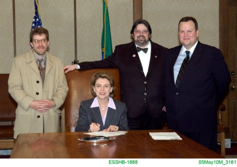 Dave Olson, Gov. Chrstine Gregoire, Jacob Stewart, Hunter Goodman at Bill Signing Ceremony