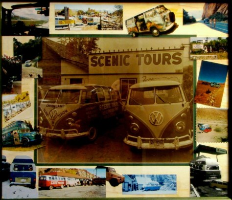 Collage of VW featuring Lin Ottinger's Canyonlands Tour buses