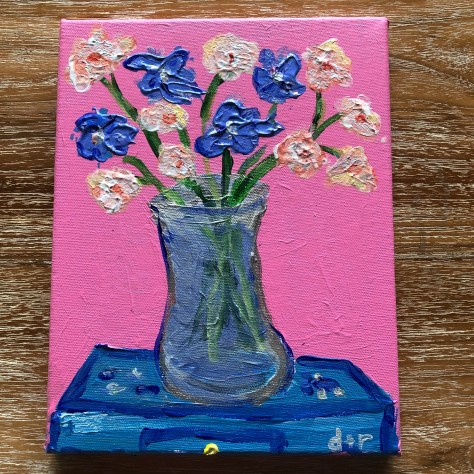 paint-A la Carte-Flowers (pink, on desk) / acrylic