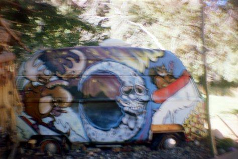 Earthship VW bus/sauna: bus passenger side