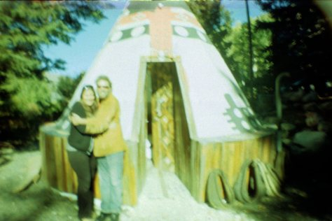 Earthship VW bus/sauna: dave and Honi at tipi