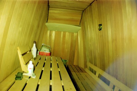 Earthship VW bus/sauna: inside the bus sauna (enter via passenger door)