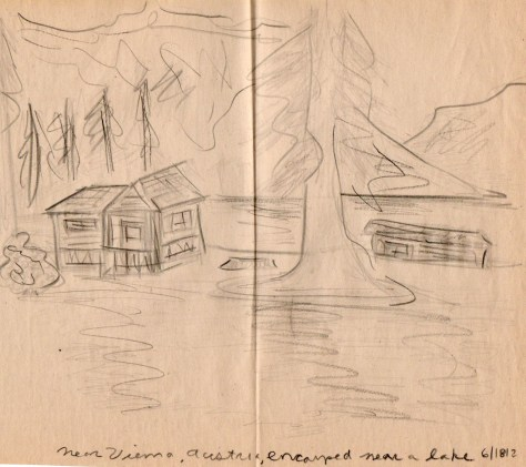 Letters from Russia: Camp cabins (pencil)