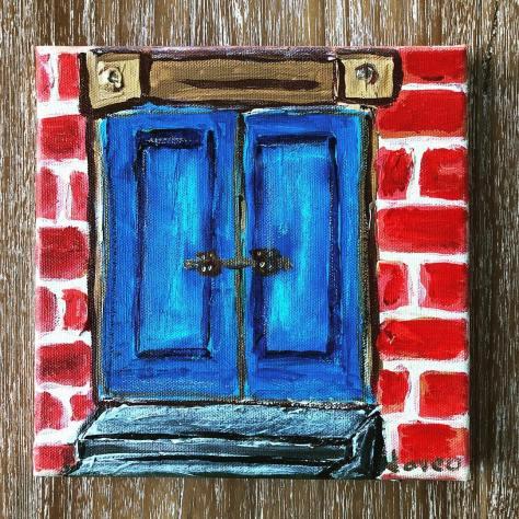 Blue Door (Nusa Ceningan) / acrylic with oil pastel