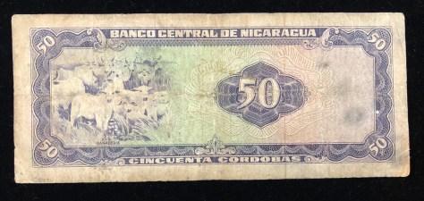 Nicaragua: 50 córdoba, circa 1978 (back)