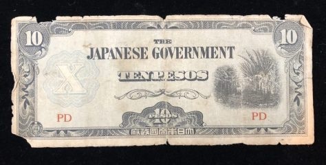 The Philippines (Japanese government-issued): 10 Pesos, circa 1942 (front)