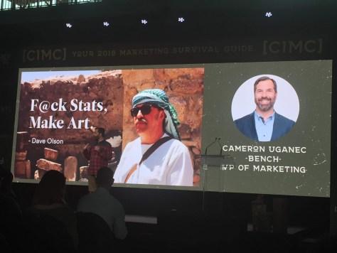 Cameron U talks Fck Stats, Make Art re: marketing at #CIMC2018 conference in Squamish BC - photo by Sandy Pell @sandycanvas