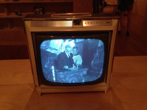 B&W TV showing parliament