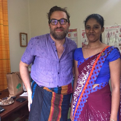 Dave working on healing at Peacock Ayurveda near Galle, Sri Lanka (with Dr.)
