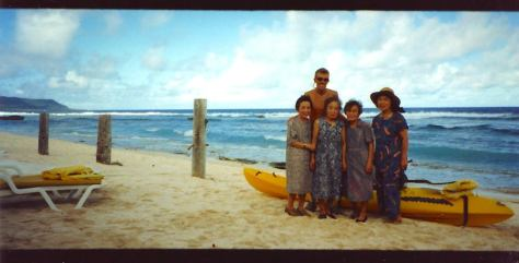 Dave with 4 guests from Japan at Starsand Private Beach Club on Guam, circa 1995