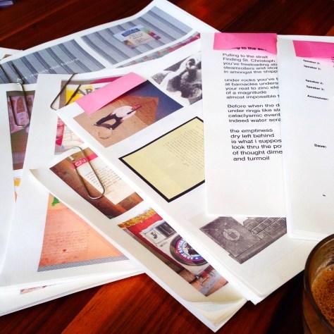 """Scrapbook: ephemera assembly for """"Fck Stats, Make Art"""", Vancouver, 2015"""