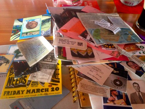 """Scrapbooks: ephemera assembly for """"Guide to Goodtimes"""", Victoria, 2016"""