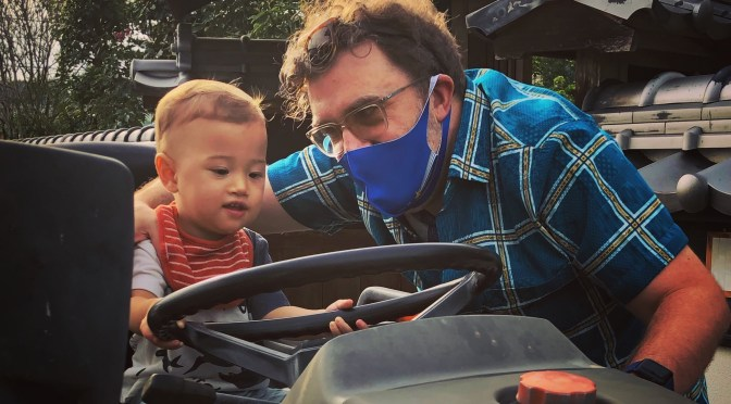 Lil Farmer Ichiro, on the tractor