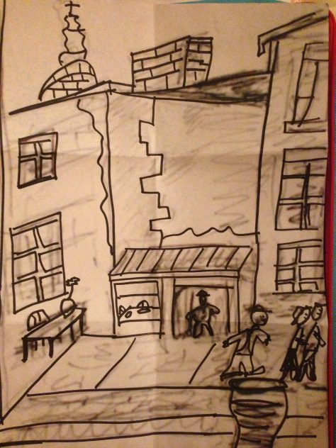 Greetz from Elsewhere: Santiago laneways (pencil and marker on paper)