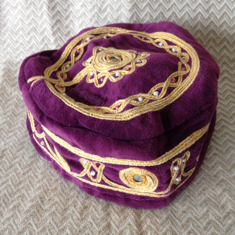 Hats: purple and gold, pillbox-esque – acquired Thamel, Kathmandu