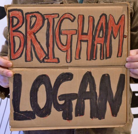 "A double-use sign as Logan branches on the 1-15 in Utah, so first gotta get to Brigham City, then change highways through the deadly ""Sardine"" canyon to reach this miserable town"