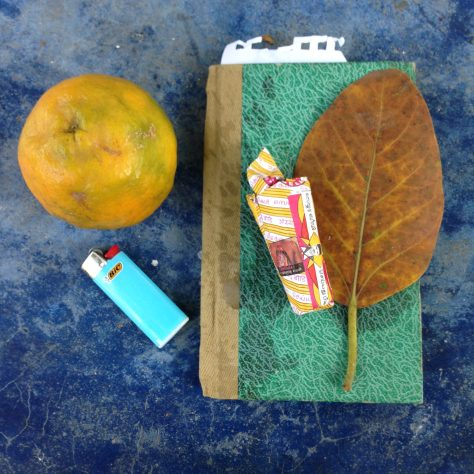 Notebook, Beedies, Lighter, Orange, Banyan leaf: India, Items Assembled