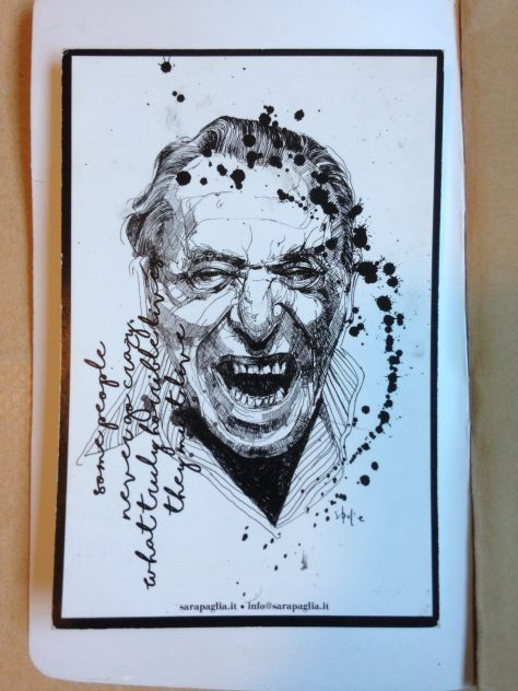 Journal: Bukowski postcard from Roma, 2017 (inside cover)
