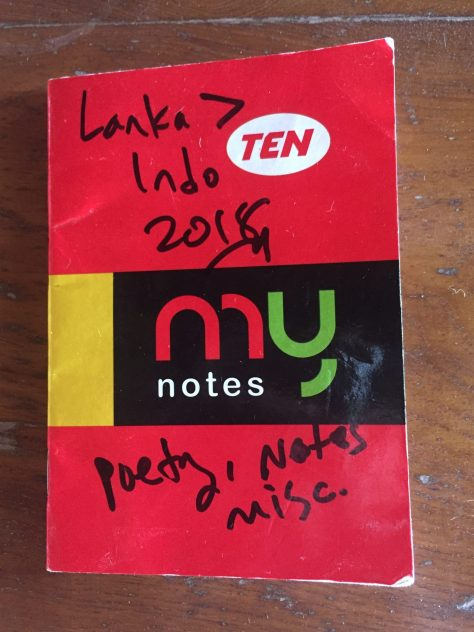 Notebook: Lanka to Indo / poetry, notes, misc. (Ten, my notes, red)