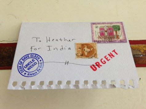 Pictogram: Letter Heather for India (outside)