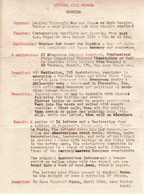 Letters from Russia: Iteration 1 of dossier (via Underwood typewriter)