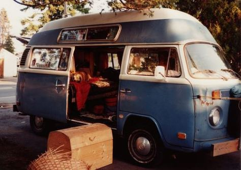 """Earthship"" VW bus in similar set-up as high school era - changes include a rebuilt interior, additional dings and a dog in the back"