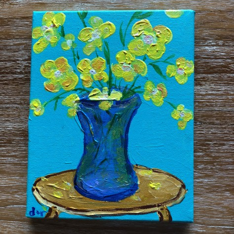 paint-A la Carte-Flowers (blue, on table)_acrylic