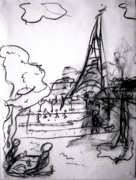 paint-Elsewhere-Tour Eiffel Picnic  charcoal