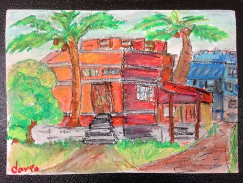 Orange House in Ernakulam (Kerala, India) / oil pastel