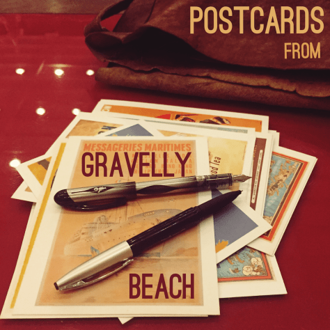 Postcards from Gravelly Beach - Pens, Cards and Leather Satchel