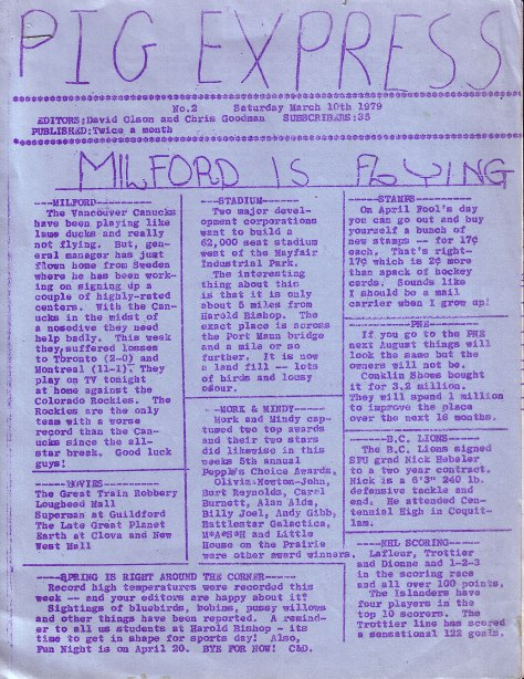 Pig Express - community newspaper, vol. 2, March 10, 1979 - Milford is Flying