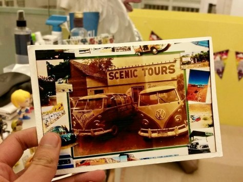 "Post'd: art postcards, handmade – VW Bus ""Scenic Tours"" static montage"