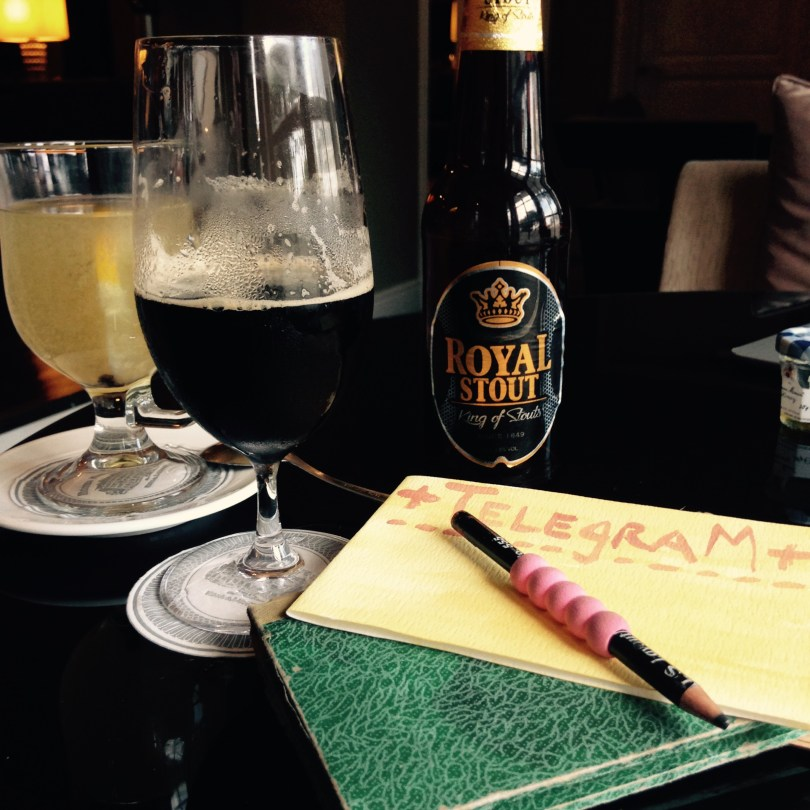 Postcard Still-life: Majestic Hotel Drawing Room, with beer and notebook