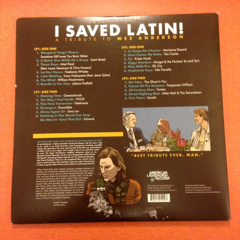 """Back of jacket of """"I Saved Latin"""" from American Laundromat Records"""