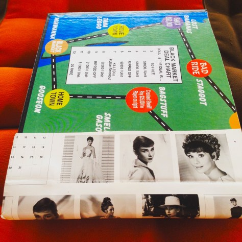 Scrapbook: Fck Stats, Make Art workbook, 2015 / Hitch-hiking board game with Audrey Hepburn, back cover