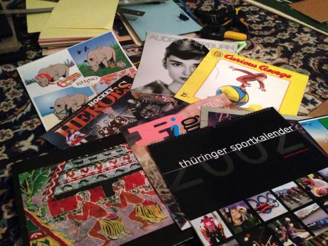Scrapbook: Assembly, pile of calendars (for covers)