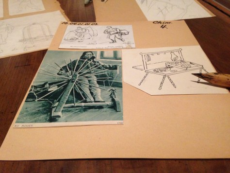 Reference photo and sketches for Tintin in America – Hergé / Tintin artifacts in Québec City