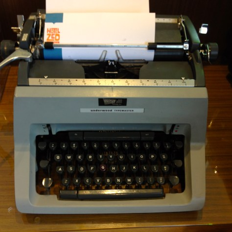 Typewriter: Underwood Typemaster at Zed Hotel, Victoria, Canada