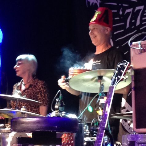 DJ Bonebrake (drummer) receives a birthday cake / X 40th anniversary tour/show at The Independent in San Francisco
