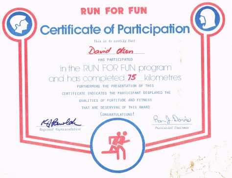 Certificate: Run for Fun, Participation, 75km