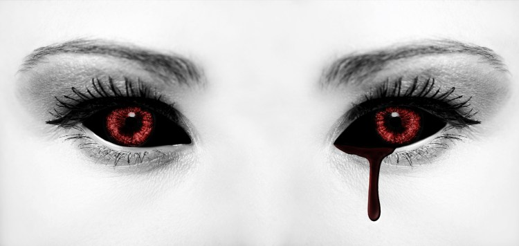 a girl's white face with blood red eyes, nearly black blood flowing from left eye