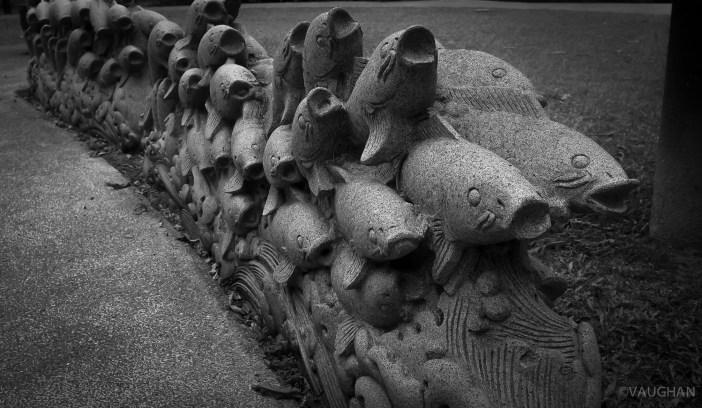 Koi sculpture.