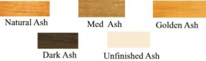 Ash wood finishes.
