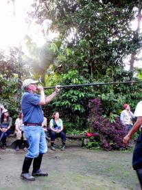 Blow gun lessons at the indigenous village...I was first...nailed it!