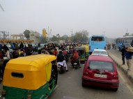 Crazy traffic by the street market