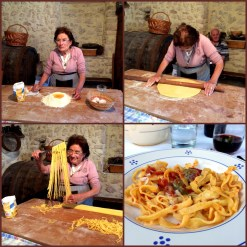 Pasta lesson and final product at a family farm in Pettino. After the lesson we had dinner there including this fresh pasta.