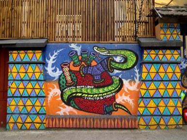 Murals and Street Art in Barrio Bellavista, Santiago