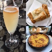 Sampling from my food and market walking tour of Santiago. Pisco sour, empanada and corn pie.