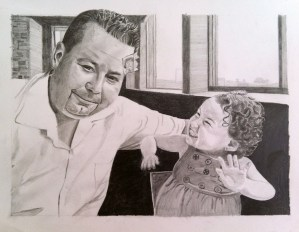 """father and daughter portrait"", ""family art"", ""family portrait"", ""dave white art"""