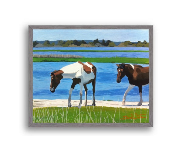 Assateague Horses Painting Charcoal Stain Wood Frame
